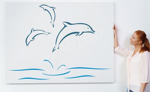 Minimalist dolphins canvas print