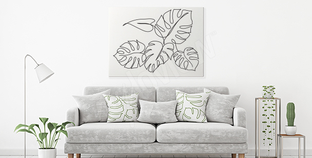 Minimalist monstera canvas print