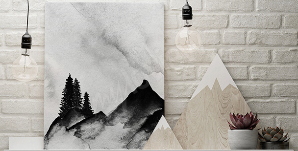 Minimalist mountain canvas print