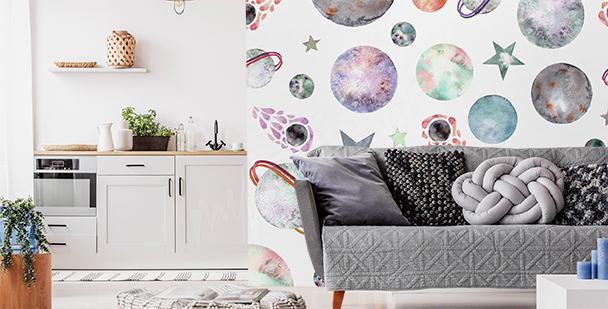 Minimalist planet mural