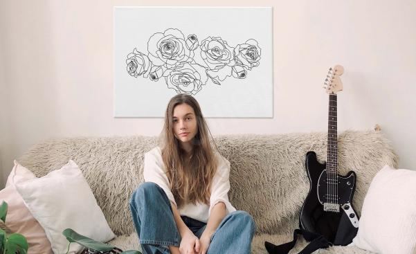 Minimalist roses canvas print