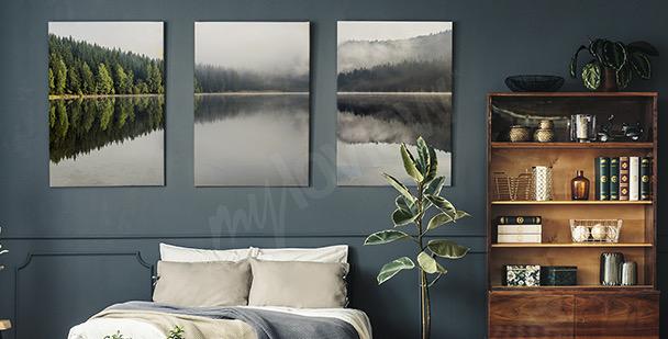 Misty lake canvas print