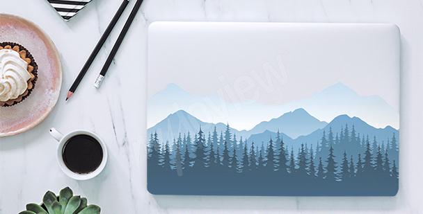 Misty mountains laptop sticker