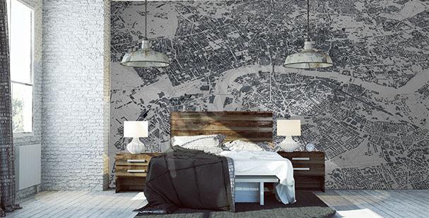 Modern map mural