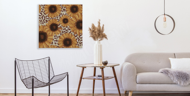 Rustic sunflowers canvas print