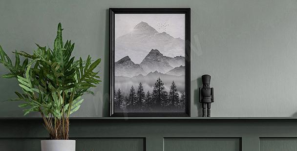 Monochromatic landscape poster