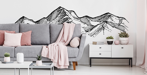 Monochromatic mountains sticker