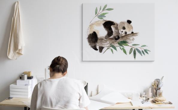 Monochromatic panda canvas print