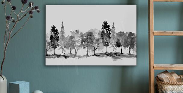 Monochromatic park canvas print
