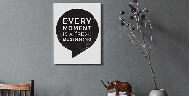 Monochromatic quote canvas print