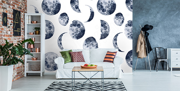 Outer space mural for living room