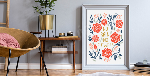 Motivational poster with flowers