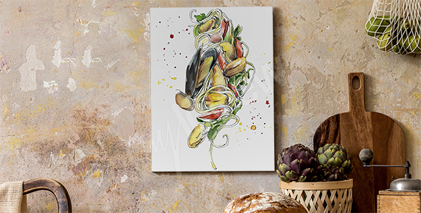 Moules food canvas print