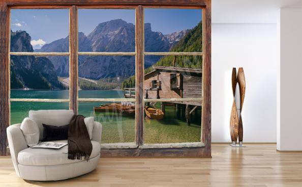 Mountain view window mural