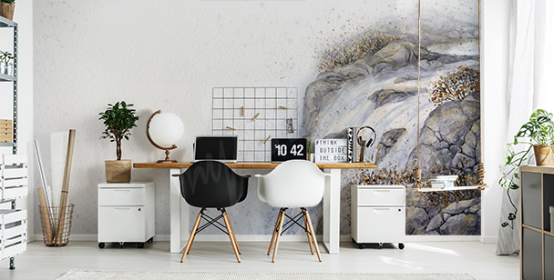 Mountain waterfall mural