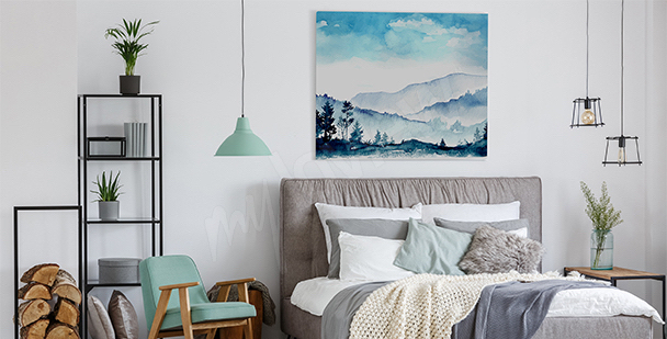 Mountains canvas print for the bedroom
