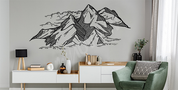 Mountains drawing sticker