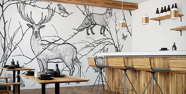 Mural for a restaurant: animals