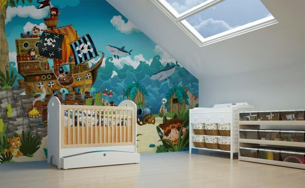 Mural for the children's room pirates