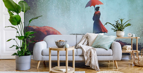 Mural with a silhouette under waterfall