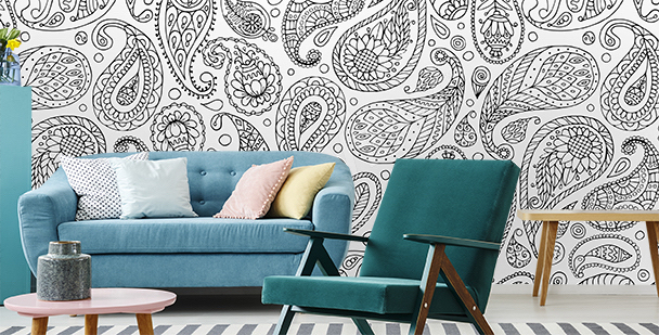Mural with black and white ornament