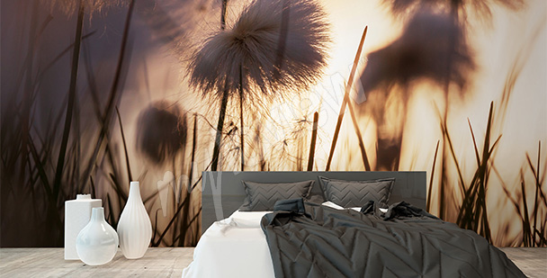 Mural with dandelions at sunset