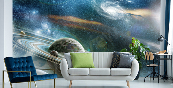 Mural with planets in a nebula