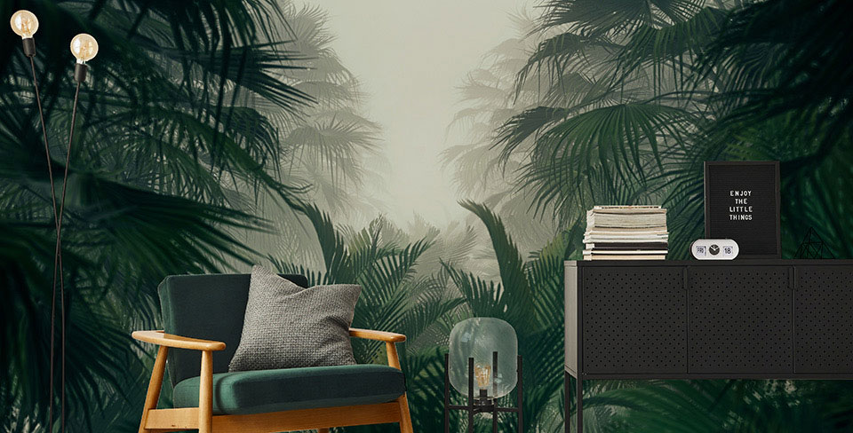 Mysterious jungle wall mural