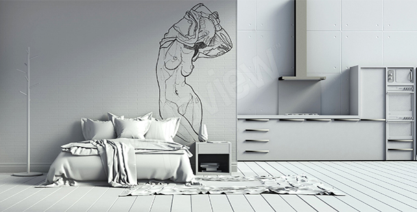 Naked female sketch wall mural