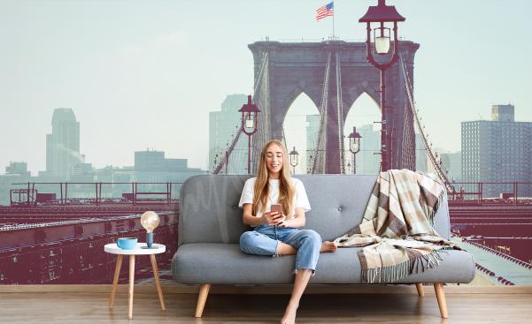 New York living room mural