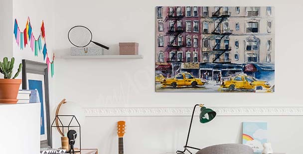 New York watercolour canvas print