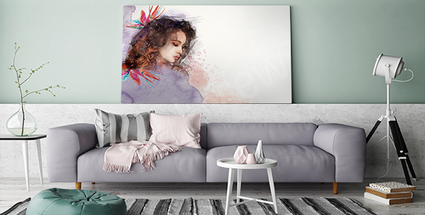 Nostalgic girl canvas print