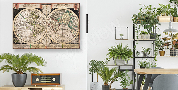 Old-fashioned cartographic canvas print