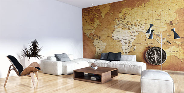 Old map mural for the living room