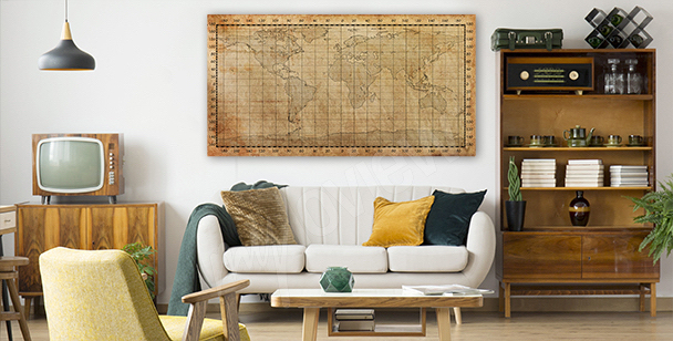 Old sepia map canvas print