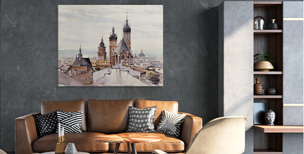 Old town view canvas print