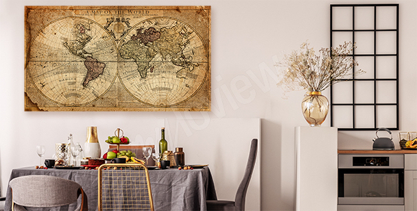 Old world map canvas print