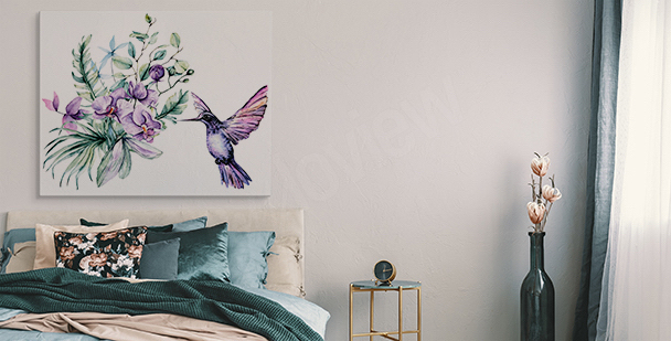 Orchid and hummingbird canvas print