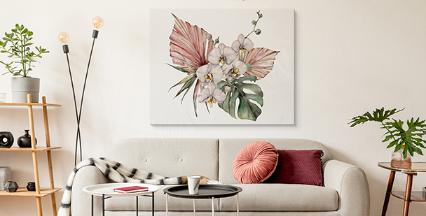 Orchid and monstera canvas print
