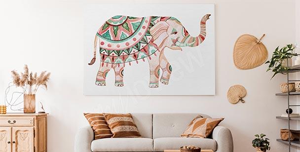 Ornament and elephant canvas print
