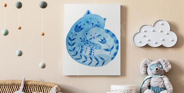 Ornament canvas print with a cat