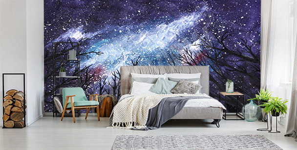 Outer space and stars mural