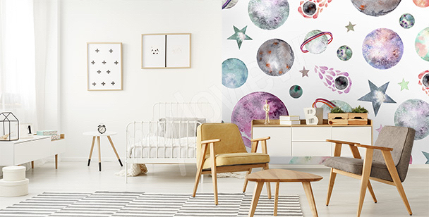 Outer space mural for children