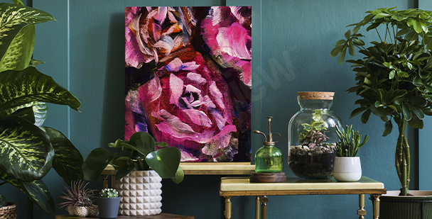 Painted roses on dark background canvas print