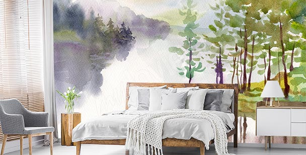 Painted view wall mural