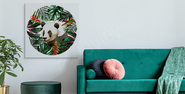 Panda among leaves canvas print