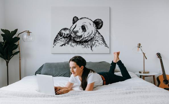 Panda sleeping in a tree canvas print