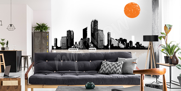 Panoramic cityscape 3D sticker