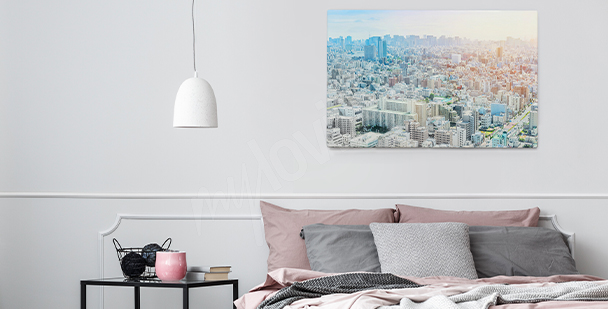 Panoramic view of a city canvas print
