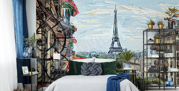 Paris wall mural for the bedroom